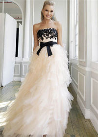 Black Blush Floral Embroidered Ball Gown Prom Dress