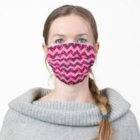 Pink Chevron with Floral Pattern Cloth Face Mask