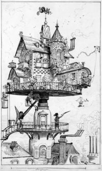 """Maison tournante aérienne"" (aerial rotating house) by Albert Robida for his book Le Vingtième Siècle, a 19th-century conception of life in the 20th century. Steampunk also refers to any of the artistic styles, clothing fashions, or s..."