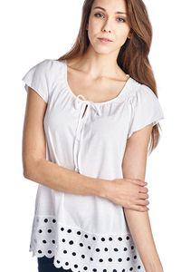 Women's Jersey Keyhole Top with Hem Detail $19.99