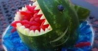 Shark Bite Watermelon for a Soul Surfer movie party - A DIY idea for movie snacks at a backyard movie event by Southern Outdoor Cinema.