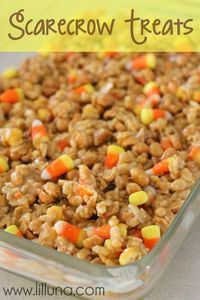 Scarecrow Treats! If you love peanuts and candy corn you will love this dessert!