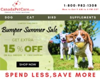 Bumper Summer Sale on Different Pet Care Supplies - Use Coupon Code CANSP15 to get 15% Extra Off + Free Shipping.