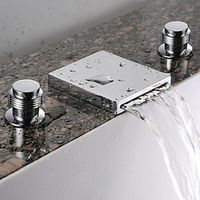 Waterfall Bathroom Sink Faucet (Widespread) - Chrome Finish