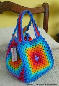 crochet bags, granny square bag and crochet rainbow.