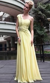 Pretty A-Line Empire One-Shoulder Beadings Pleats Evening Dresses