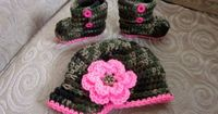 Camouflage Baby Girl Hat and Booties I could totally see this on my niece!! :)