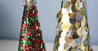 Make adorable Sequin Christmas Trees for easy, inexpensive holiday decor!