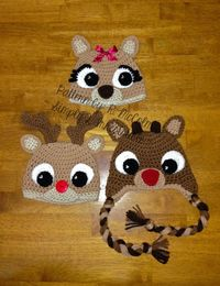 Rudolph Reindeer Hat Crochet Pattern 57 by Simply2Irresistible