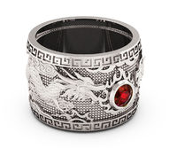 Ruby Dragon Ring with Ruby Wide Silver Mens Ring Genuine Ruby Heavy Ring Gift for Man Large Engraved Dragon Band $1612.00