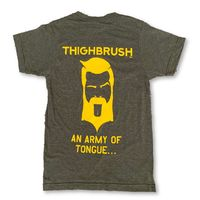 """THIGHBRUSH® TACTICAL - ARMED FORCES COLLECTION - """"An Army of Tongue"""" Men's T-Shirt - Military Green and Gold"""