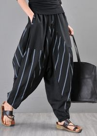 lerp pants, black linen harem pants, elephant pants, striped harem pants, drop crotch pants, women's striped pants
