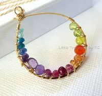Rainbow necklace Inner circle multicolored gemstone by TatianaG