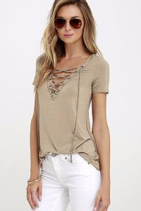 $19.00 Summer Fashion Lace Up T Shirt Women Sexy V Neck Hollow Out Top Casual T-shirt Plus Size