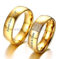 Engraved Gold Plated Couple Wedding Bands 6mm https://www.gullei.com/outside-engraved-gold-plated-titanium-soulmate-wedding-bands.html
