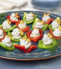 Red and Green Bell Pepper Bites. Excellent appetizer for a small get together.