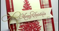handmade Christmas card fromstamping up north: Festive Friday Challenge ... red, vanilla and kraft ... tree stamped in red with pearls and jewels ... luv the plaid paper with all the colors ... fishtail banner with twine bow ... delightful! ... Stampin&#3...