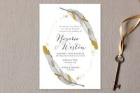 Dipped Feathers Wedding Invitations by Pistols