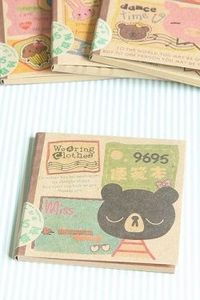 ECO Brown Kraft - Kawaii Craft Paper Memo Pad - Black Bear