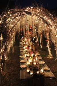 Wedding Reception, dinner party, enchanted forest, rustic woodland ambience. LOVE this !