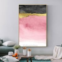 Gold foil Acrylic painting on canvas Original textured pink abstract nordic extra Large painting Wall Pictures Home Decor caudros abstractos $169.00