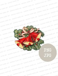 Vintage Christmas Clip Art Christmas Bells Graphic, Christmas PNG for Cards, Crafts, scrapbook, collage, prints
