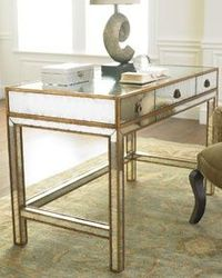 Bedroom Desk. Reflective surfaces add a bit of glamour which can then be toned down or up. (H4WGB John-Richard Collection Mirrored Writing Desk)