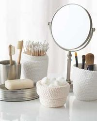 This Crocheted Bathroom Set is made with scented yarn, so it helps keep your bathroom organized and smelling clean! You can make these crochet bowls in a variet
