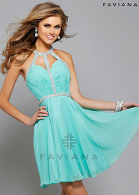 Flirty Spearmint Halter-Style Ruched Beaded Straps Open Back Cocktail Dress