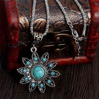 Graceful Hollow Flower Tuquoise Necklaces Tibetan Silver Pendants Fashion Crystal Jewelry Vintage Style Women Antique Accessory $80.73