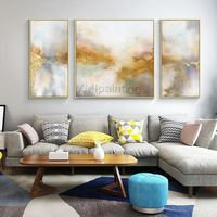 3 pieces wall art Original Gold painting abstract Acrylic Painting On Canvas Wall Pictures cuadros abstractos contemporary art hand painted $179.50