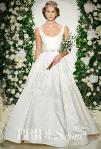 Gorgeous scoop-neck wedding dress by Anne Barge