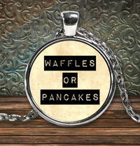 Waffles or pancakes round pendant silver plated necklace - tv fandom $29.95