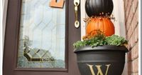 Decorate your porch for Fall with this easy to make Pumpkin Topiary tutorial.