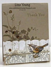 "Lisa Young: Add Ink and Stamp �€"" A Little Birdie says Thank You - 2/11/15 (SU stamps: World of Dreams (background), Hardwood + (Hexagon punch for fence), An Open Heart.) (Pin#1: Thank You. Pin+: Woodgrain; Birds &am..."