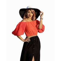 Sexy Off Shoulder Blouse Fashion Women Short Sleeve Crop Tops Casual Red Blouse Shirt blusa manga comprida $10.80