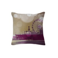 Santa Monica Pier Golden Purple Bokeh Cushion