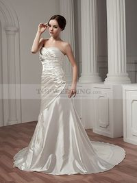 RUCHED STRAPLESS SWEETHEART SATIN WEDDING DRESS WITH BEADED APPLIQUE
