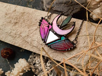 Pendant Red Moon, Stained Glass, Ethno Necklace, Modern Pendant, Boho jewelry, Witch Necklace $47.00