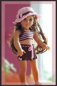American Doll Crochet Patterns Free | ... Tankini & Boyshorts Crochet Pattern 18 inch Dolls American Girl Doll