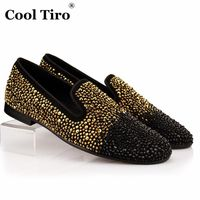 COOL TIRO Gold strass Rhinestones Loafers Men Flats Black Suede Smoking Slippers Loafers Wedding Party Suede Dress Slip-on Shoes $73.45