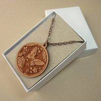 Brown cherry wood laser cut butterfly pendant necklace copper chain US $26.00