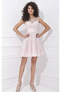 Shimmering A-line Jewel Short Natural Homecoming Dresses
