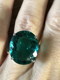 14K White Gold 12.10CT Oval Cut Blue Green Paraiba Solitaire Ring $185.00
