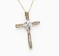 Two Tone 14K White and Yellow Gold Crusifix Cross Pendant & 14KT Chain Necklace , Vintage 1970's 1980s $299.00