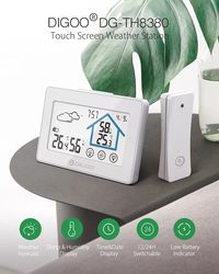 DIGOO DG-TH8380 Touch Screen Weather Station Daily Clock Low battery Alarm Thermometer Hygrometer Outdoor Indoor Temperature Humidity Sensor