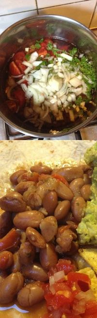 Drunken Beans recipe >>> Just made these - they are crazy good and super easy to make!