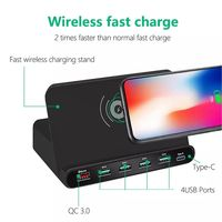 Bakeey 60W 4 QC3.0 2.4A USB Port Type C Fast Charging QI Quick Wireless Charger Phone Holder For iPhone X XS XR Max Xiaomi Mi8 Mi9 HUAWEI P30 S10 Note
