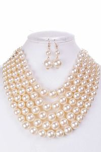 Color Block Pearl Chunky Necklace And Earring Set $22.51