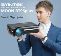 BYINTEK MOON BT96Plus LCD Projector 600ANSI 1280*800P Support Full HD 1080P 5000:1 Contrast Ratio Home Theater Projector-Basic Version